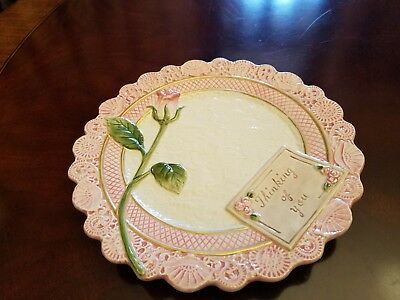 Fitz and Floyd Victorian Postcards Thinking Of You Pink Rose Embossed Plate 8.5""