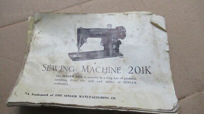 Singer sewing machine manual 201K electric hand and treadle info