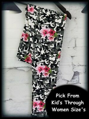 Camo Hibiscus Flower Amazing Buttery Soft Leggings Pick From Kid's-Women