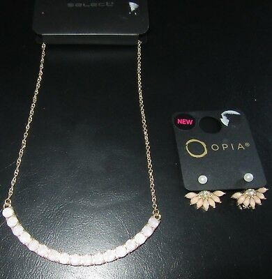 NEW PINK NECKLACE & PEACH EARRINGS    Christmas