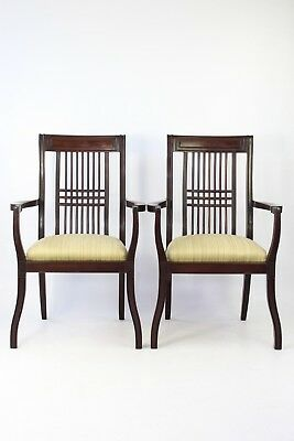 Pair Antique Arts Crafts Mahogany Open Armchairs - Edwardian Hall Carver Chairs
