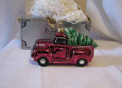 Vintage Polonaise Ornament Kurt Adler In Box 929 1948 F 1 Ford Truck with Tree