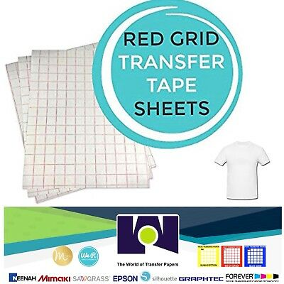 INKJET TRANSFER PAPER RED GRID IRON ON FOR LIGHT FABRICS T SHIRT  50 PK A4 Size
