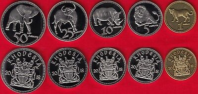 """Rhodesia set of 5 coins: 1 - 50 cents 2018 """"Animals"""" UNC"""