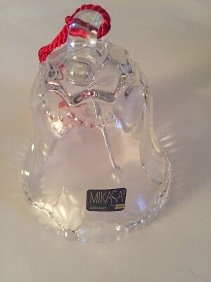 Mikasa glass bell ribbons holly Made in Germany Christmas Holiday