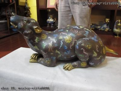 100% Bronze Gold Gilt Cloisonne Lucky rat mouse Hold Money Coin wealth statue