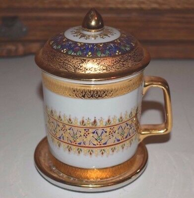 Thai / Thailand Hand Painted Porcelain Mug / Cup with Saucer and Lid