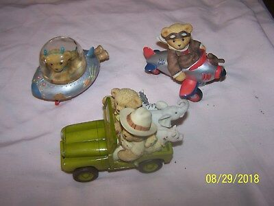 Lot of 3 Cherished Teddies in Airplane, Spaceship, and Safari Jeep with Animals