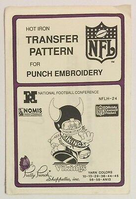 Pretty Punch NFLH-24 Vikings Hot Iron Transfer Pattern NFL Punch Embroidery 1987