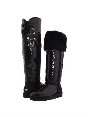 0034dc4deb7 UGG OVER THE Knee Bailey Button Chestnut Boots Us 6 Eu 37 1007536 ...