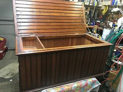 Rare Wainscoting Oak Blanket Chest Arts & Crafts Antique Mission Trunk
