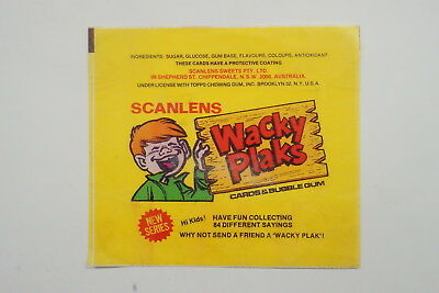 Scanlen's Wacky Plaks wrapper 1982