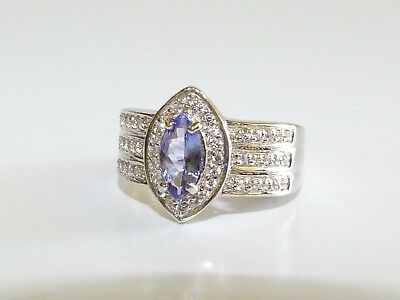 GENUINE! RARE 0.80cts! Tanzanite Marquise Cut Ring Solid Sterling Silver 925!!