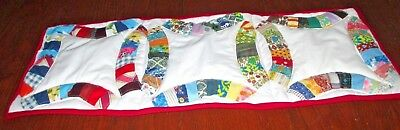 Table Runner from handmade quilt vintage quilt top colorful Wedding Ring pattern