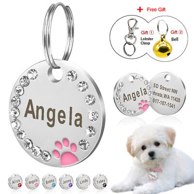 Personalized Dog ID Tags Engraved Bling Rhinestone Cute Paw Print for Pet Puppy