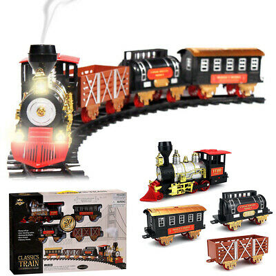 Electric Christmas Train Track Set Kids Toy Battery Operated Light Sound Gift US