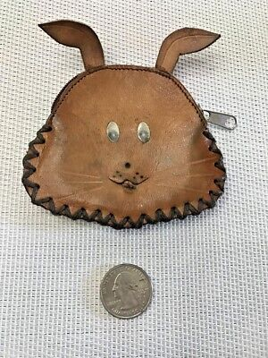 Vintage 1940's Handmade Chipmunk Change Purse Leather with Zipper Closure