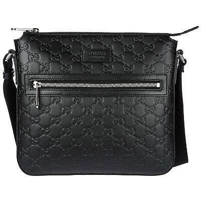 15746cb249c63 Gucci Men s Leather Cross-Body Messenger Shoulder Bag Signature Black 231