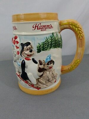 Hamms Beer Bear Ceramic Beer Stein 1987 Limited Edition Holiday Made in Japan