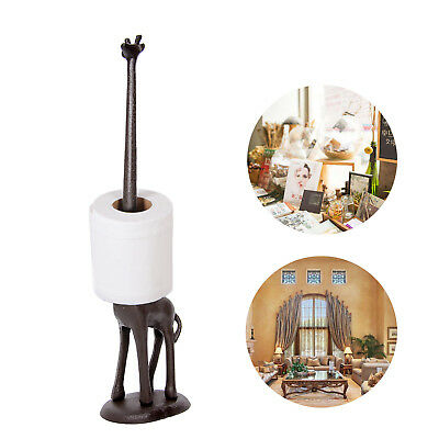 Cast Iron Giraffe Toilet Kitchen Tissue Paper Roll Holder Standing Home Decor