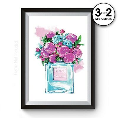 COCO #5 Perfume Bottle, Watercolour Floral Pink Blue 100% Cotton Fine Art Print