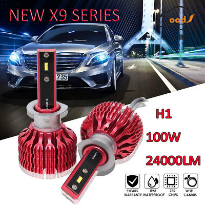 1 Pair H1 ZES Chips LED Headlight Bulbs 6500K IP68 100W 24000LM With Canbus