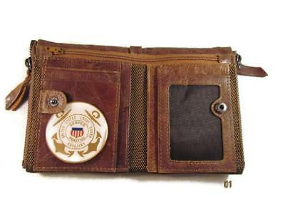 Uscg Us Coast Guard Auxiliary Vintage Finish Brown Genuine Cowhide Bifold Wallet