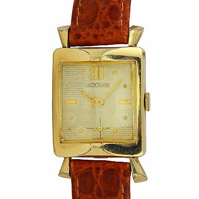 Art Deco Jaeger LeCoultre 10K GF Watch Curved Crystal & Fancy Lugs