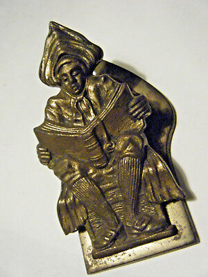 Antique Paper / Letter Clip Gold Plated Bronze Dutch Boy / Clergy Reading Book