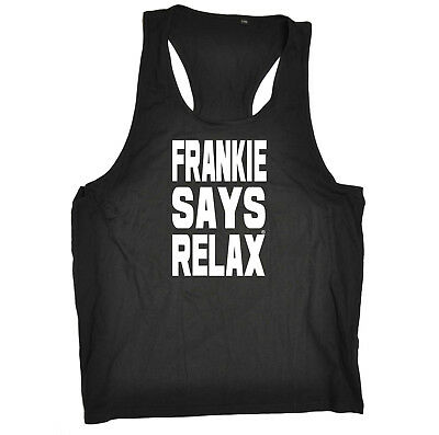 Funny Novelty Mens Vest Singlet Tank Top - Solid White Frankie Says Relax