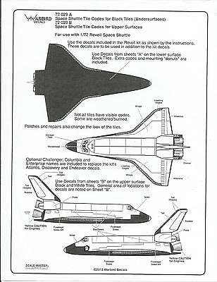 Warbird Space Shuttle Tile Code Decals for Revell 1/72 Kit 029