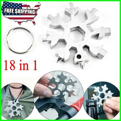 18-in-1 Multi-tool Combination Compact Portable Outdoor Snowflake Tool Card New