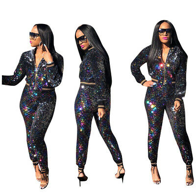 Women Long Sleeve Colorful Sequins Shiny Zipper Bodycon Club Party Jumpsuit 2pc