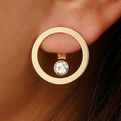 Round Circle Gold Color Fashion Double Side Ear Stud Crystal Bead Stud Earrings