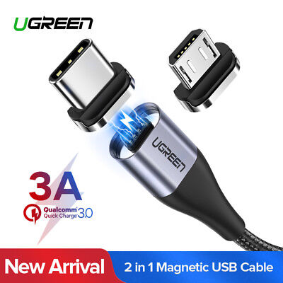 Ugreen USB 2.0 Fast Charging Magnetic Micro USB Cable Type C Adapter for Samsung