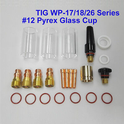 23Pcs TIG Welding Torch Stubby Gas Lens #12 Pyrex Cup Kit Fits For WP-17/18/26