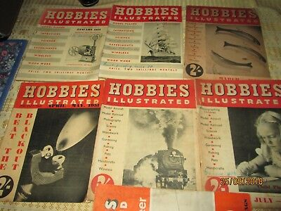"""HOBBIES ILLUSTRATED"""" 7x Magazines 1951.Vintage Collectables.ADVERTS BACK COVER."""