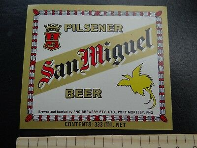 1 x 333ml SAN MIGUEL PILSENER PORT MORESBY PNG BEER LABEL.