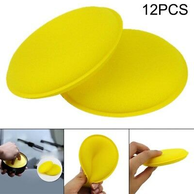 12pcs Car Waxing Polishing Sponge Pad Round Care Tool Cleaning Buffing Foam Tool