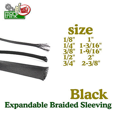 Choose Size & Length Expandable Wire Sleeving Sheathing Braided Loom Tubing LOT