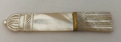 Victorian Antique Palais Royal Carved Mother Of Pearl Quiver Needle Case