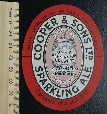 1 x 12 1/2 US FL OZ COOPERS SPARKLING ALE BOSTON USA BEER LABEL