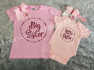Big sister & Little sister Baby vest available in white & pink with matching bow