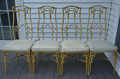 4 Mid Century Hollywood Regency Cast Iron Chinese Chippendale Faux Bamboo Chairs