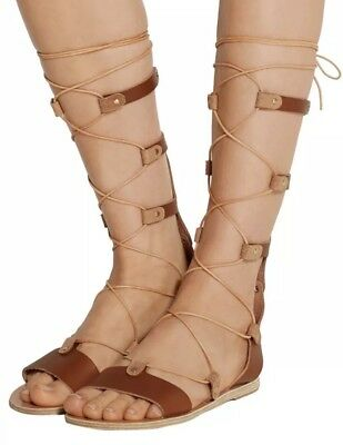 418164652088 ANCIENT GREEK SANDALS Thebes Knee High Gladiator Sandals -  50.00 ...