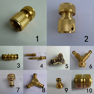 Brass Hose Pipe Tap Connector Outdoor Garden Quick Fit Adapter Switcher Kit Set