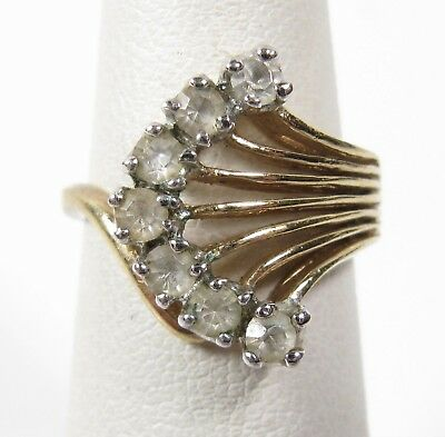 14k Gold Plated 1940s Faux Diamond Ring Costume 5.25 Vintage Yellow Gold Vtg