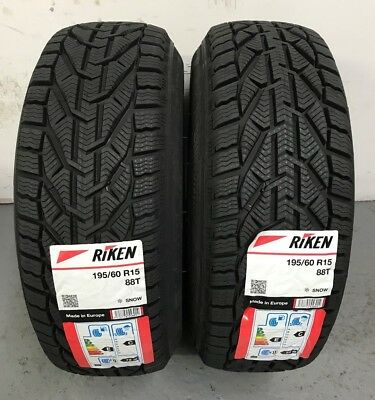2 x 195/60 R15 Riken Snow 88T (Made by Michelin) 195 60 15 1956015 - TWO TYRES