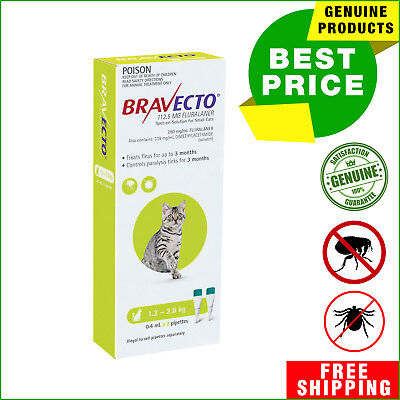 BRAVECTO Spot ON For Cats 2 Pipettes Flea Tick treatment 1.2 to 2.8 Kg GREEN
