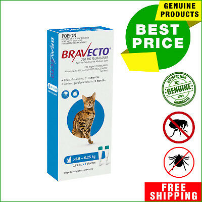 BRAVECTO Spot ON For Cats 2 Pipettes Flea Tick treatment 2.8 to 6.25 Kg BLUE